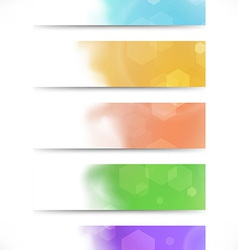 Modern bokeh abstract business cards set vector image
