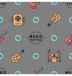 Music seamless pattern Rock festival design vector image