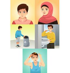 muslim kids doing activities vector image