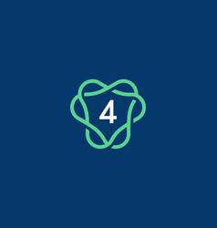 Number 4 logo icon design template creative vector