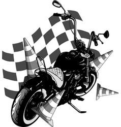 old vintage black bobber bike with race flag vector image