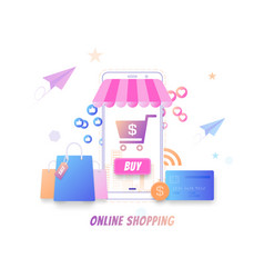 online shopping modern flat concept buying online vector image