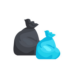 packages full of garbage of black and blue color vector image