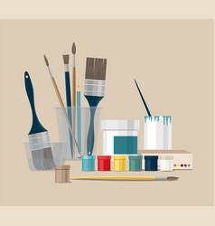 paints brushes pencils pen back to school vector image