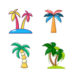 palm tree icon set cartoon style vector image