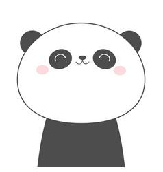 panda bear face head line sketch icon kawaii vector image