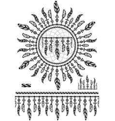 Pattern brushes with feathers and rope vector