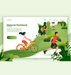 people riding running in park vector image