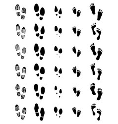 prints of shoes and human feet vector image