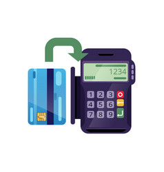 Process of payment by credit card through terminal vector