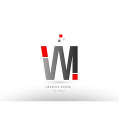 Red grey alphabet letter vm v m logo combination vector