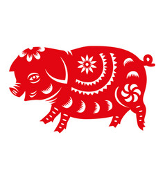 red paper cut pig zodiac sign vector image