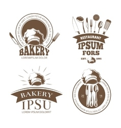 Restaurant menu design labels emblems vector image