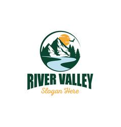 River mountain logo design template vector