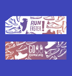 Run faster lettering banner running shoes vector