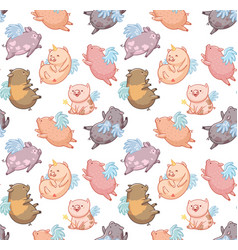Seamless pattern with mini piggy in the clouds vector