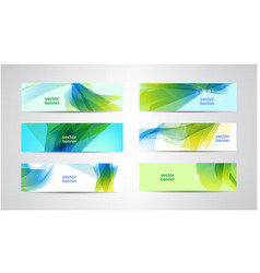 Set abstract green and blue banners vector