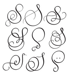 Set of art calligraphy letter s with flourish vector