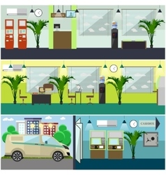 set of bank interior concept design vector image