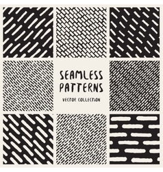 Set of Eight Seamless Hand Drawn Jumble vector