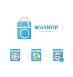 set of laundry logo combination washing machine vector image