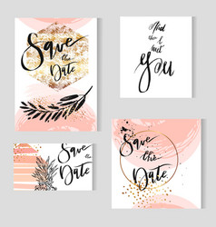 set perfect wedding templates in goldenpastel vector image