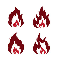 set red flame vector image