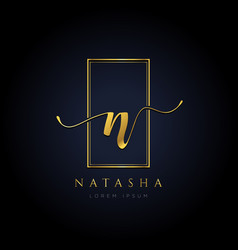 Simple elegance initial letter n logo type sign vector