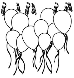 sketch silhouette set flying balloons and vector image