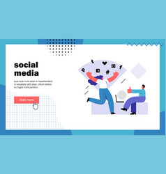 social media website landing page vector image