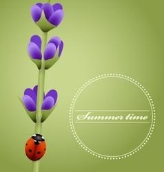 Sprig of lavender cute ladybug Summer season vector