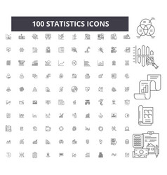 statistics editable line icons 100 set vector image