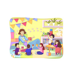 teaching game care kindergarten concept vector image