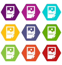 tested ink paper with printer marks icon set color vector image