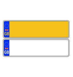 Uk front and back number plate vector