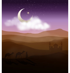 Walking to mosque in starry night desert vector
