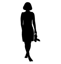 Woman barefoot with shoes in her hand vector