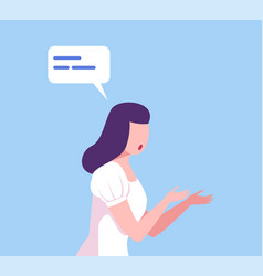Young woman communicating with speech bubble girl vector