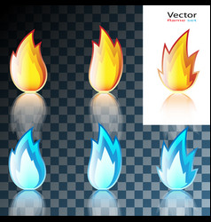 abstract red and blue flame icon vector image