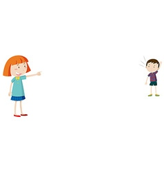 Girl pointing at little boy vector image