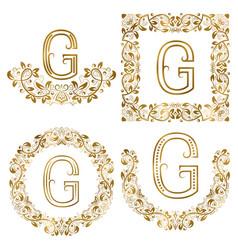 golden g letter ornamental monograms set heraldic vector image