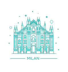 line of milan cathedral milan vector image vector image