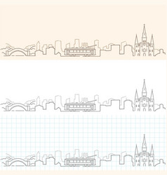 new orleans hand drawn skyline vector image vector image