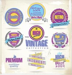 Set of vintage premium quality labels retro colors vector image