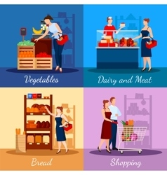 Shopping Departments In Supermarket vector image