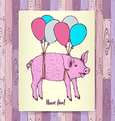 Sketch pig flying with baloons vector image