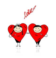 Valentine day Funny hearts together for your vector image