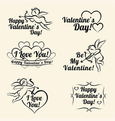 valentines day vintage card templates of banners vector image vector image