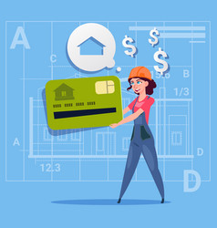 cartoon woman builder hold credit card sell house vector image