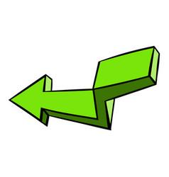 green broken arrow icon icon cartoon vector image